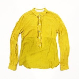 Anthropologie Maeve Mustard Yellow Blouse